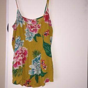 Hawaiian yellow floral cami blouse